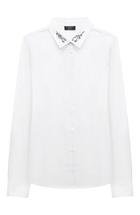 Детское хлопковая блузка DAL LAGO белого цвета, арт. R407A/7537/13-16 | Фото 1
