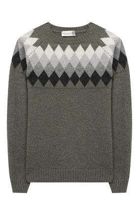 Детский шерстяной пуловер DAL LAGO хаки цвета, арт. W527/8943/7-12 | Фото 1
