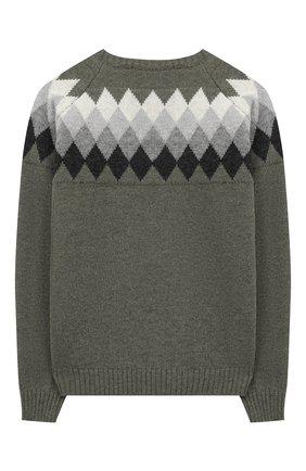 Детский шерстяной пуловер DAL LAGO хаки цвета, арт. W527/8943/7-12 | Фото 2