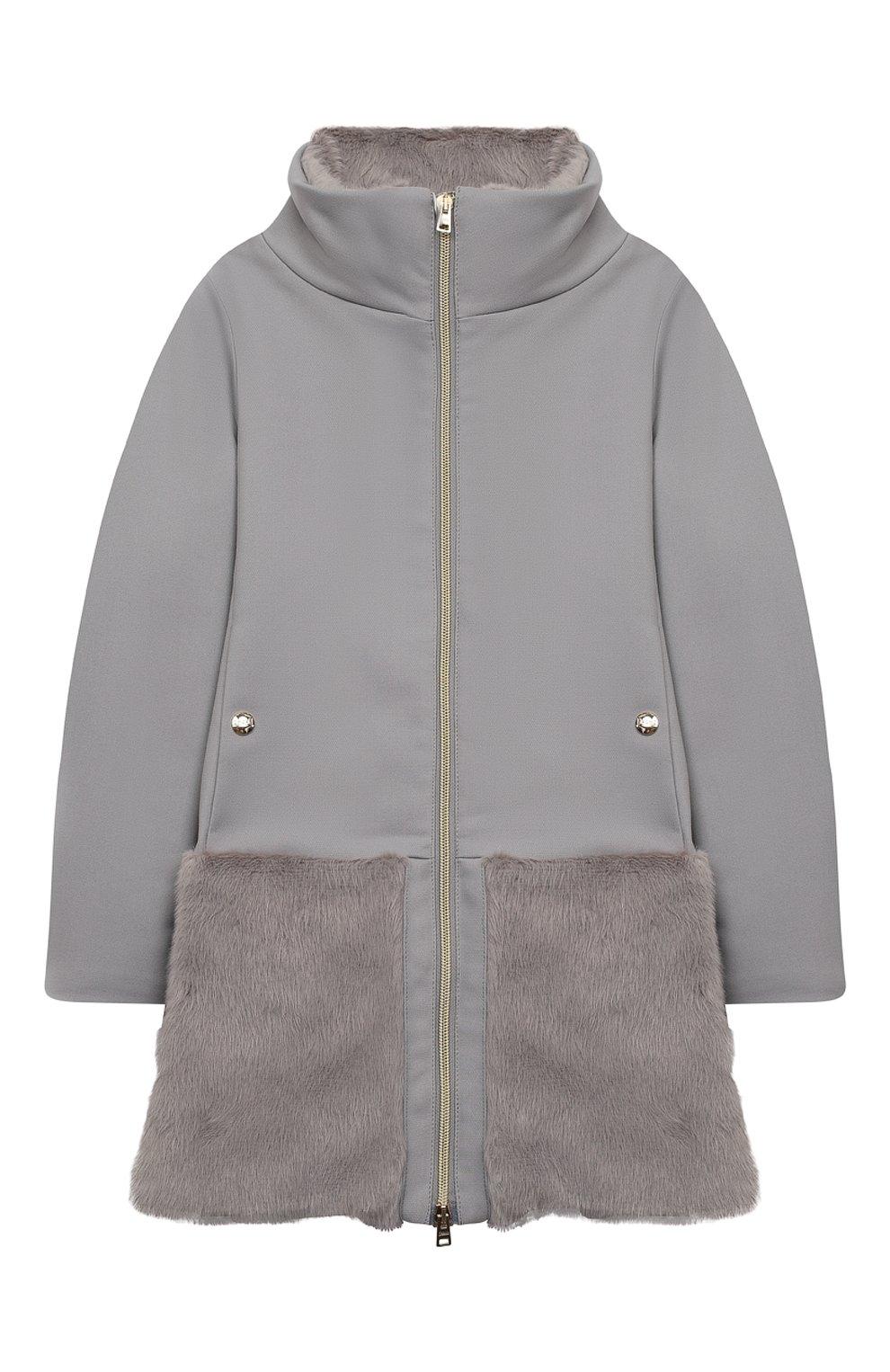 Детское пальто из хлопка и шерсти HERNO серого цвета, арт. CA0008G/33600/10A-14A | Фото 1