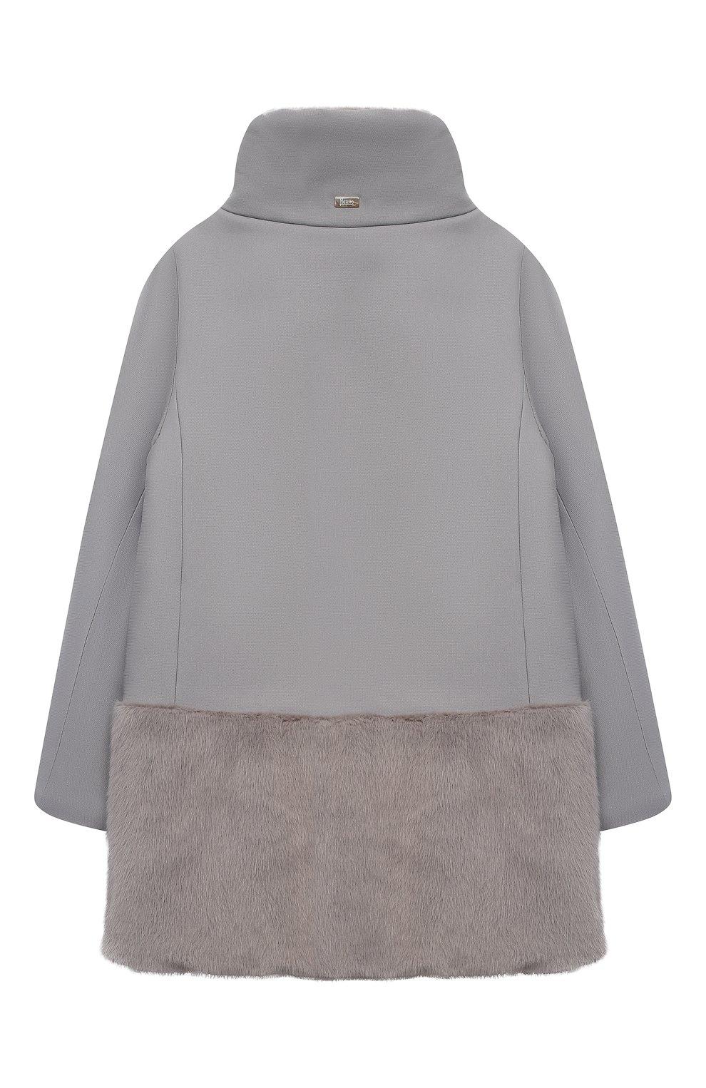 Детское пальто из хлопка и шерсти HERNO серого цвета, арт. CA0008G/33600/10A-14A | Фото 2
