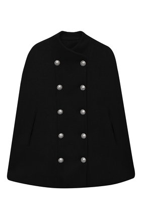 Детское шерстяное пончо BALMAIN черного цвета, арт. 6N2090/ND870/12-16 | Фото 1