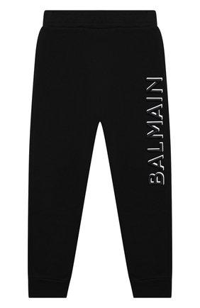Детские хлопковые брюки BALMAIN черного цвета, арт. 6N6607/NX300/4-10 | Фото 1