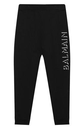 Детские хлопковые брюки BALMAIN черного цвета, арт. 6N6607/NX300/12-16 | Фото 1