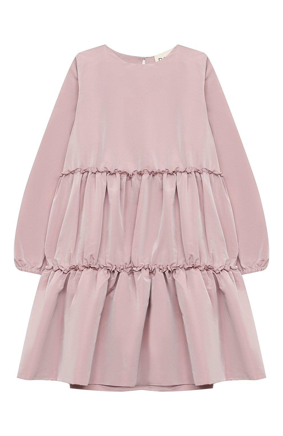 Детское платье DOUUOD розового цвета, арт. 20I/U/JR/AB02/1355/10A-14A | Фото 1 (Рукава: Длинные; Случай: Повседневный; Материал внешний: Синтетический материал; Материал подклада: Хлопок)
