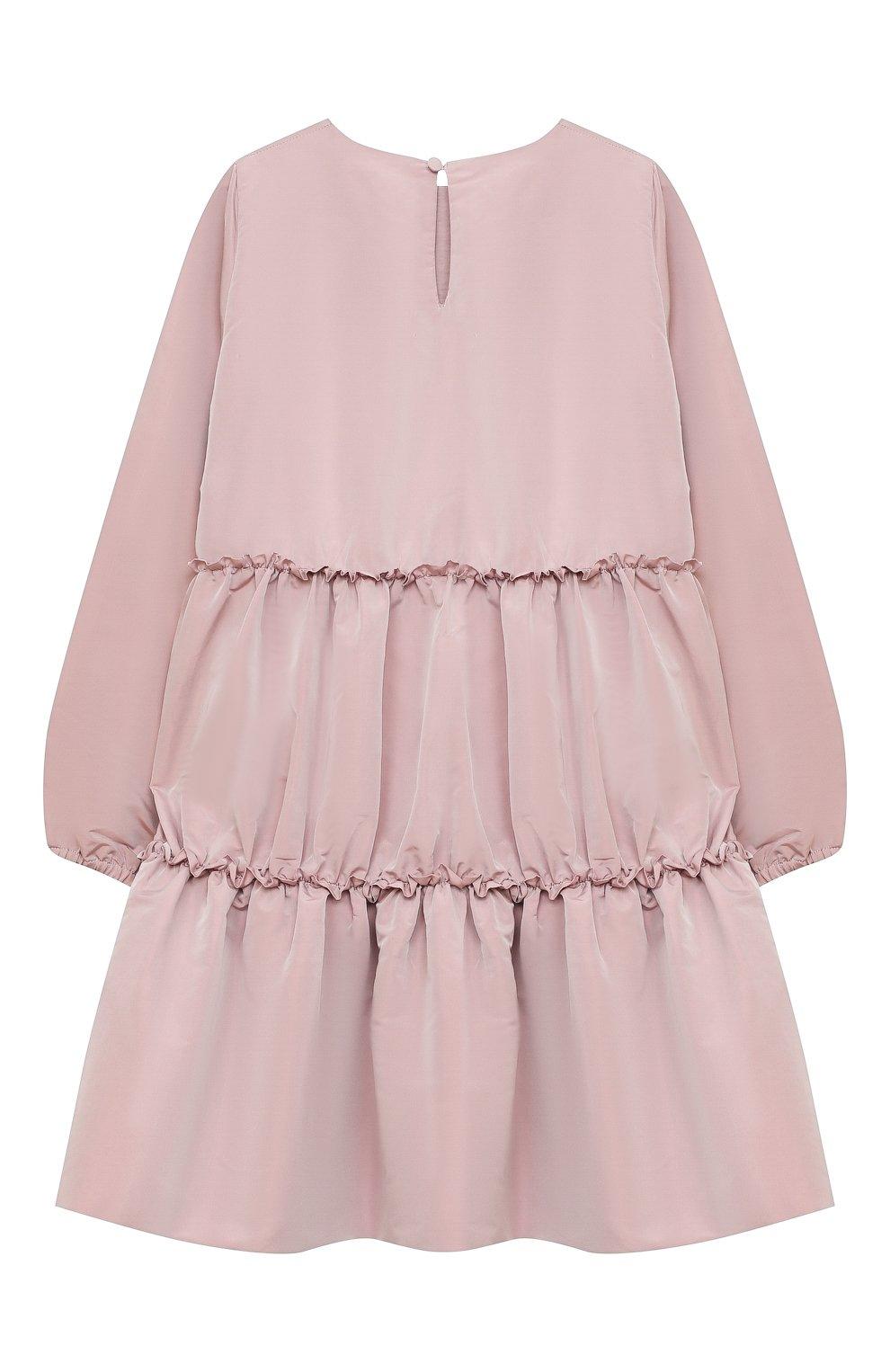 Детское платье DOUUOD розового цвета, арт. 20I/U/JR/AB02/1355/10A-14A | Фото 2 (Рукава: Длинные; Случай: Повседневный; Материал внешний: Синтетический материал; Материал подклада: Хлопок)
