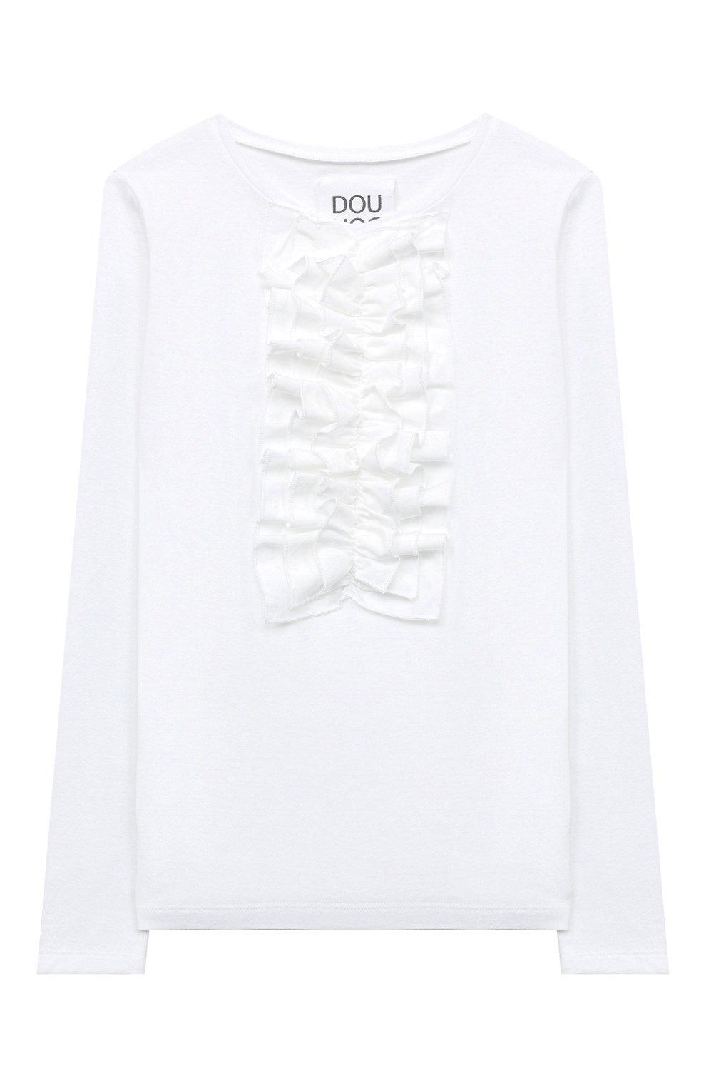 Детская хлопковый лонгслив DOUUOD белого цвета, арт. 20I/U/JR/TE04/1231/10A-14A | Фото 1