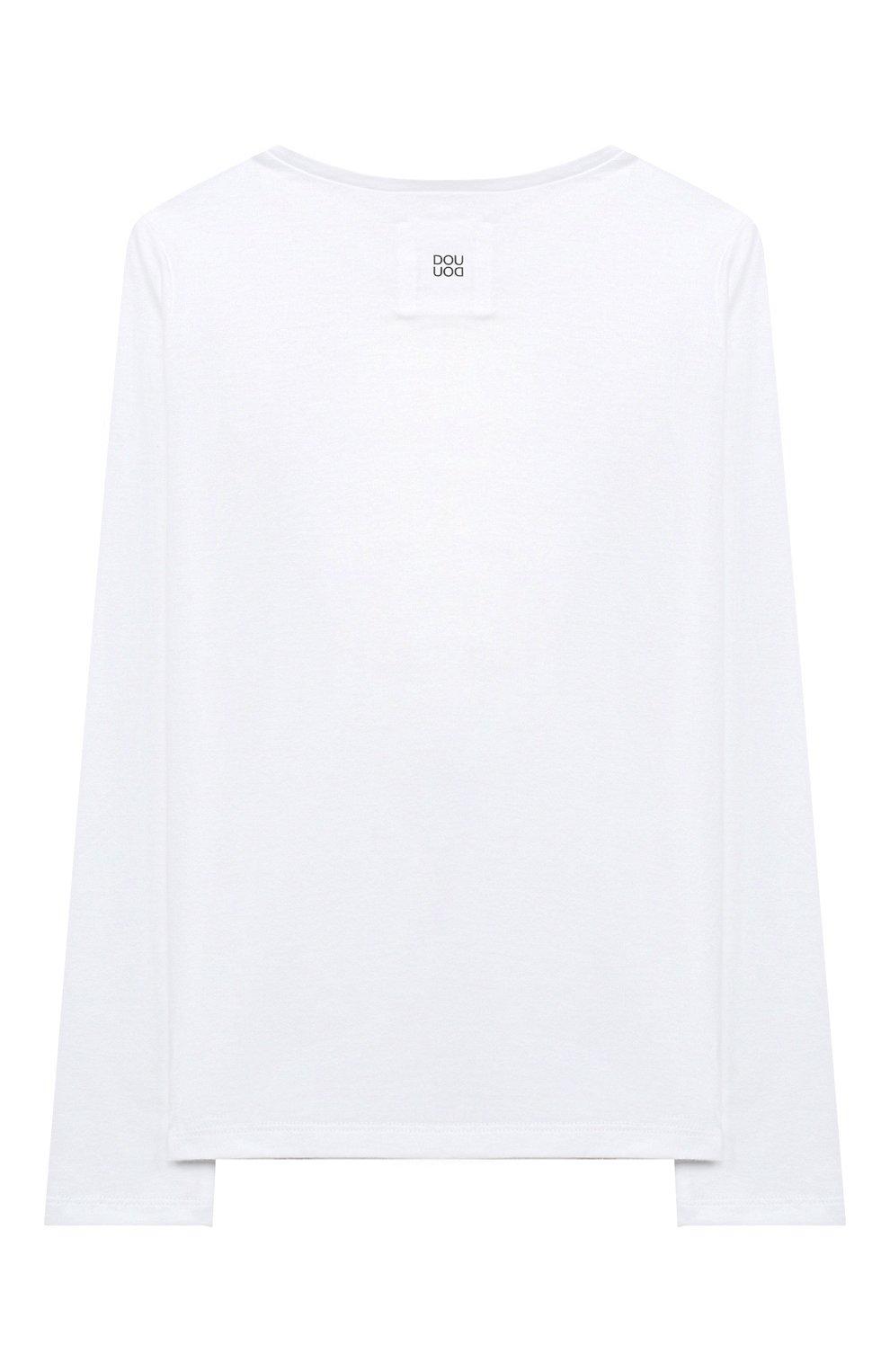 Детская хлопковый лонгслив DOUUOD белого цвета, арт. 20I/U/JR/TE04/1231/10A-14A | Фото 2