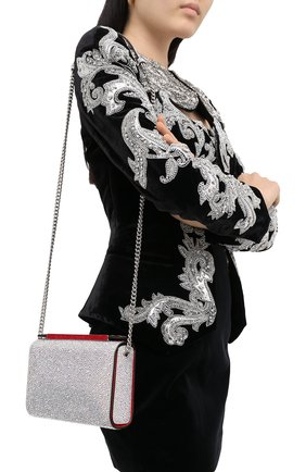 Женская сумка vanite large CHRISTIAN LOUBOUTIN серебряного цвета, арт. vanite large clutch metal suede/strass | Фото 2