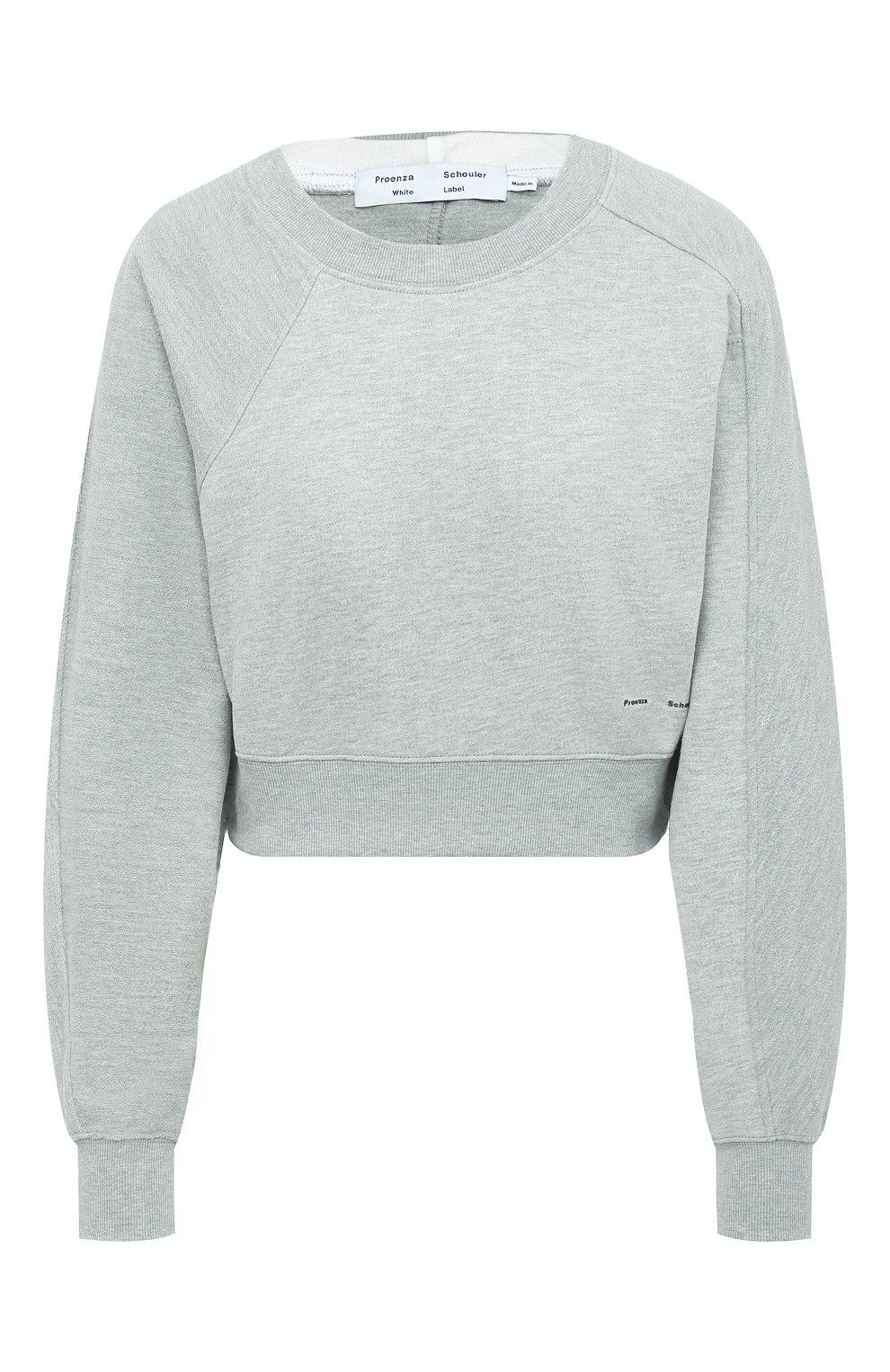 Женский хлопковый свитшот PROENZA SCHOULER WHITE LABEL серого цвета, арт. WL2034165-JC138 | Фото 1