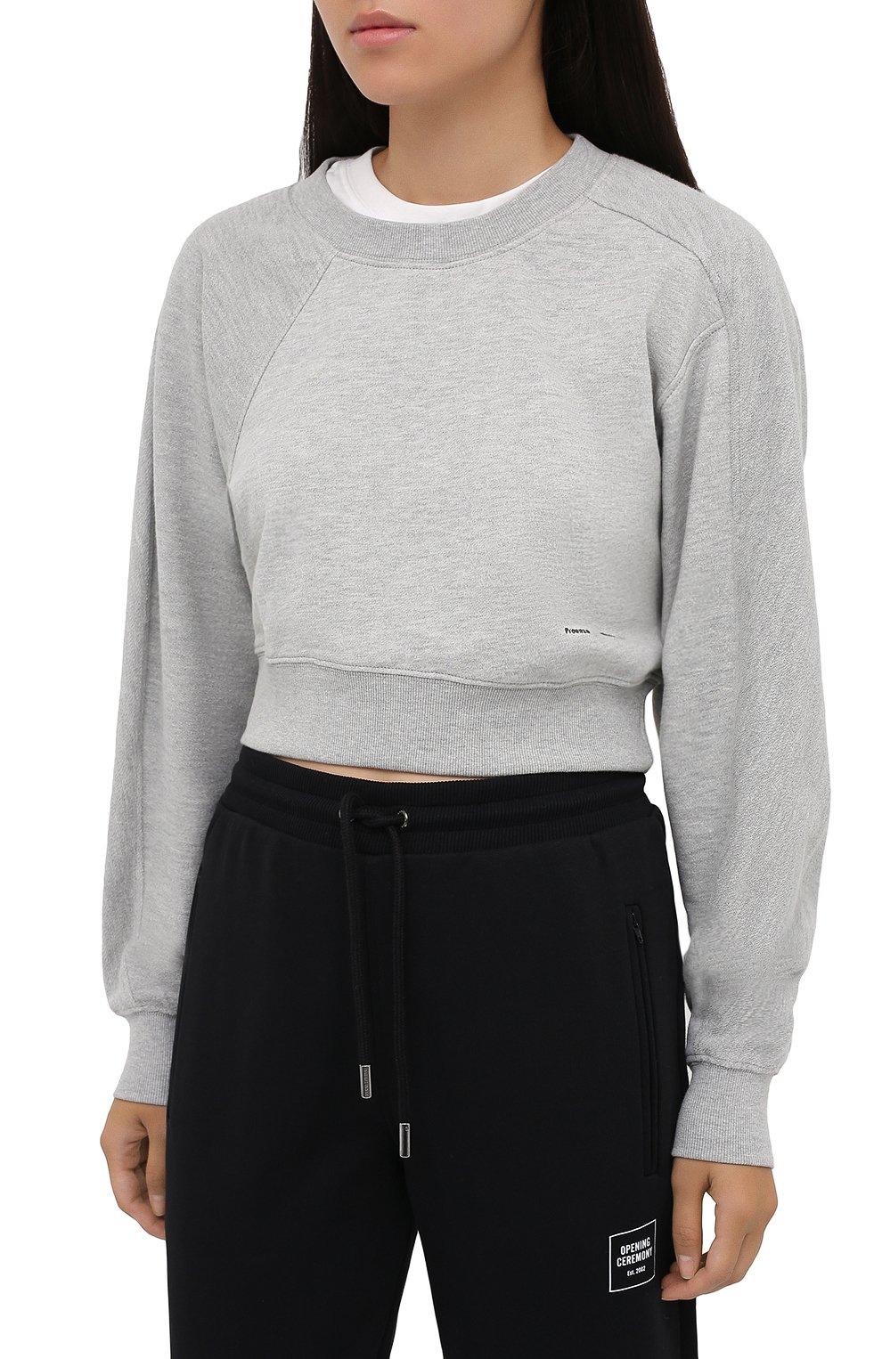 Женский хлопковый свитшот PROENZA SCHOULER WHITE LABEL серого цвета, арт. WL2034165-JC138 | Фото 3