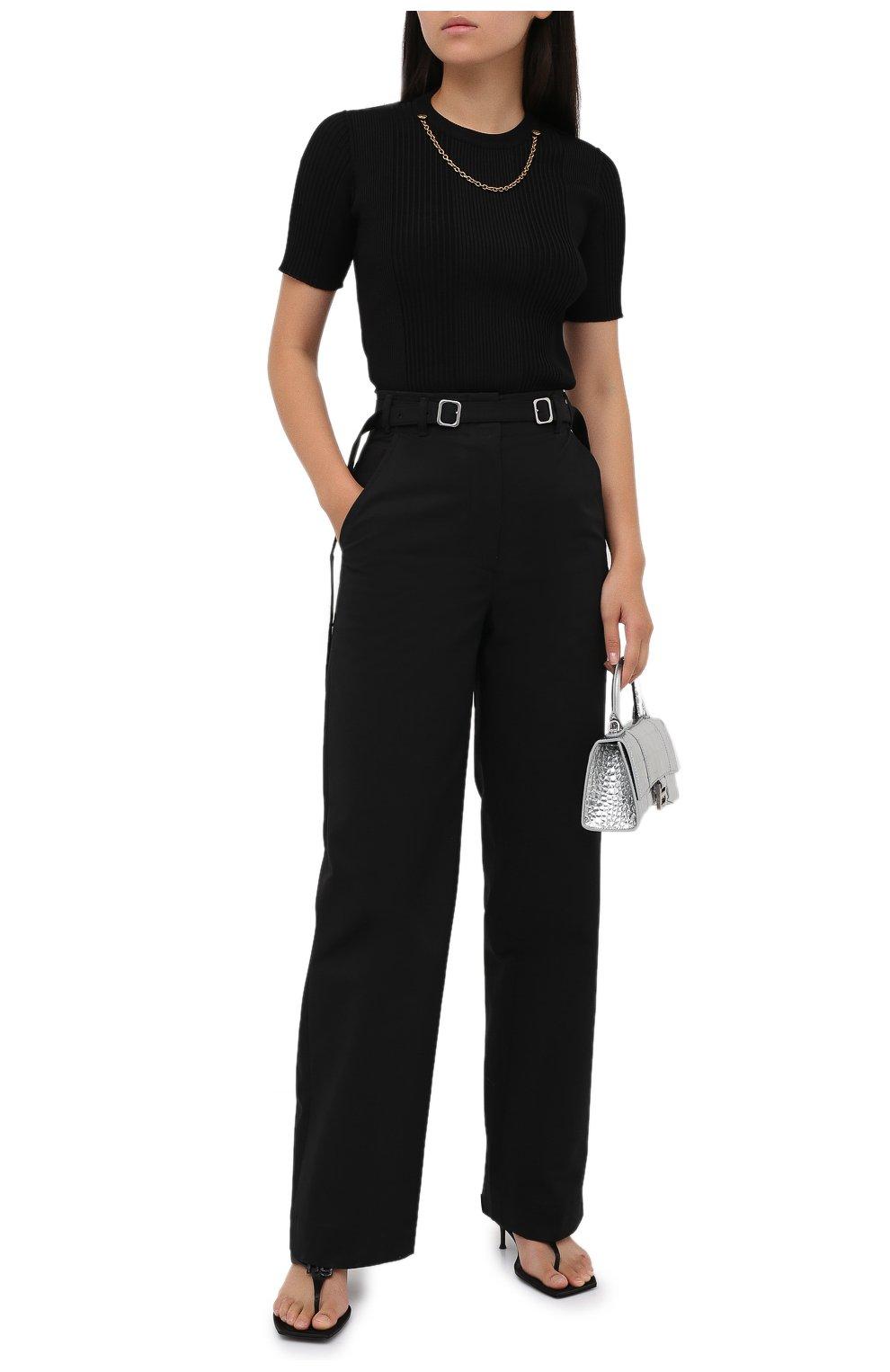 Женские хлопковые брюки PROENZA SCHOULER WHITE LABEL черного цвета, арт. WL2036042-AC110   Фото 2