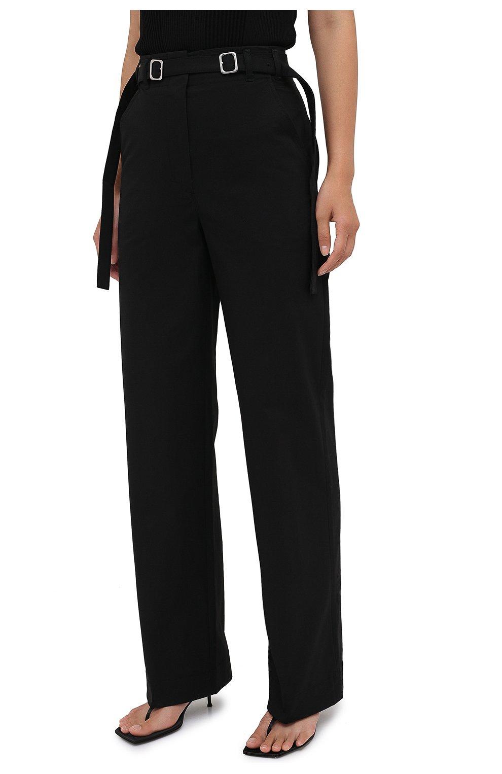 Женские хлопковые брюки PROENZA SCHOULER WHITE LABEL черного цвета, арт. WL2036042-AC110   Фото 3