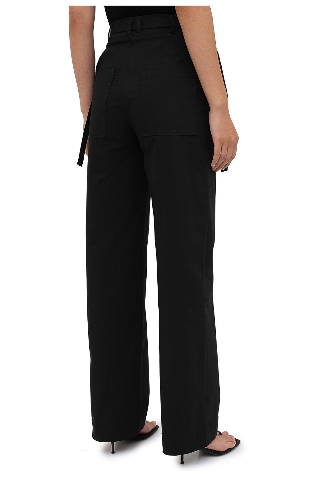 Женские хлопковые брюки PROENZA SCHOULER WHITE LABEL черного цвета, арт. WL2036042-AC110   Фото 4