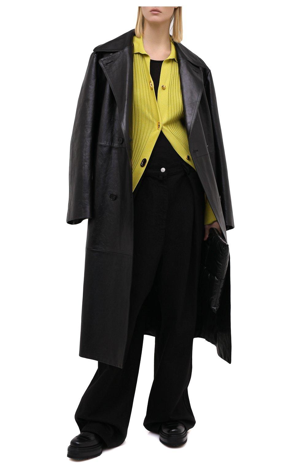 Женский кардиган из хлопка и шелка BOTTEGA VENETA зеленого цвета, арт. 637824/V06P0 | Фото 3
