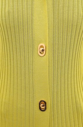 Женский кардиган из хлопка и шелка BOTTEGA VENETA зеленого цвета, арт. 637824/V06P0 | Фото 6