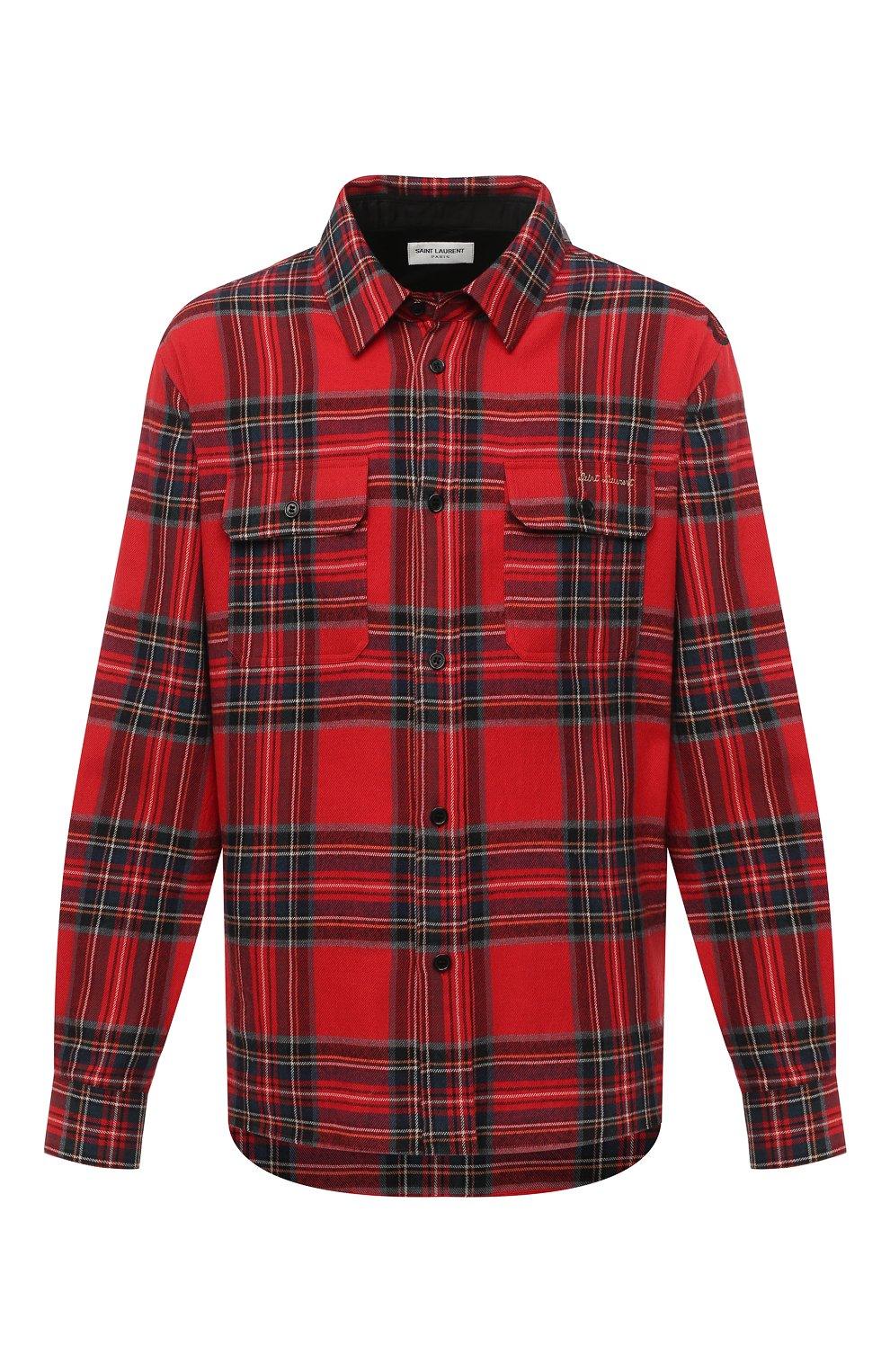 Мужская рубашка из хлопка и шерсти SAINT LAURENT красного цвета, арт. 636581/Y2B37 | Фото 1