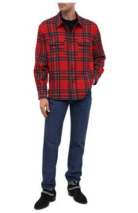 Мужская рубашка из хлопка и шерсти SAINT LAURENT красного цвета, арт. 636581/Y2B37 | Фото 2