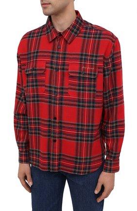 Мужская рубашка из хлопка и шерсти SAINT LAURENT красного цвета, арт. 636581/Y2B37 | Фото 3