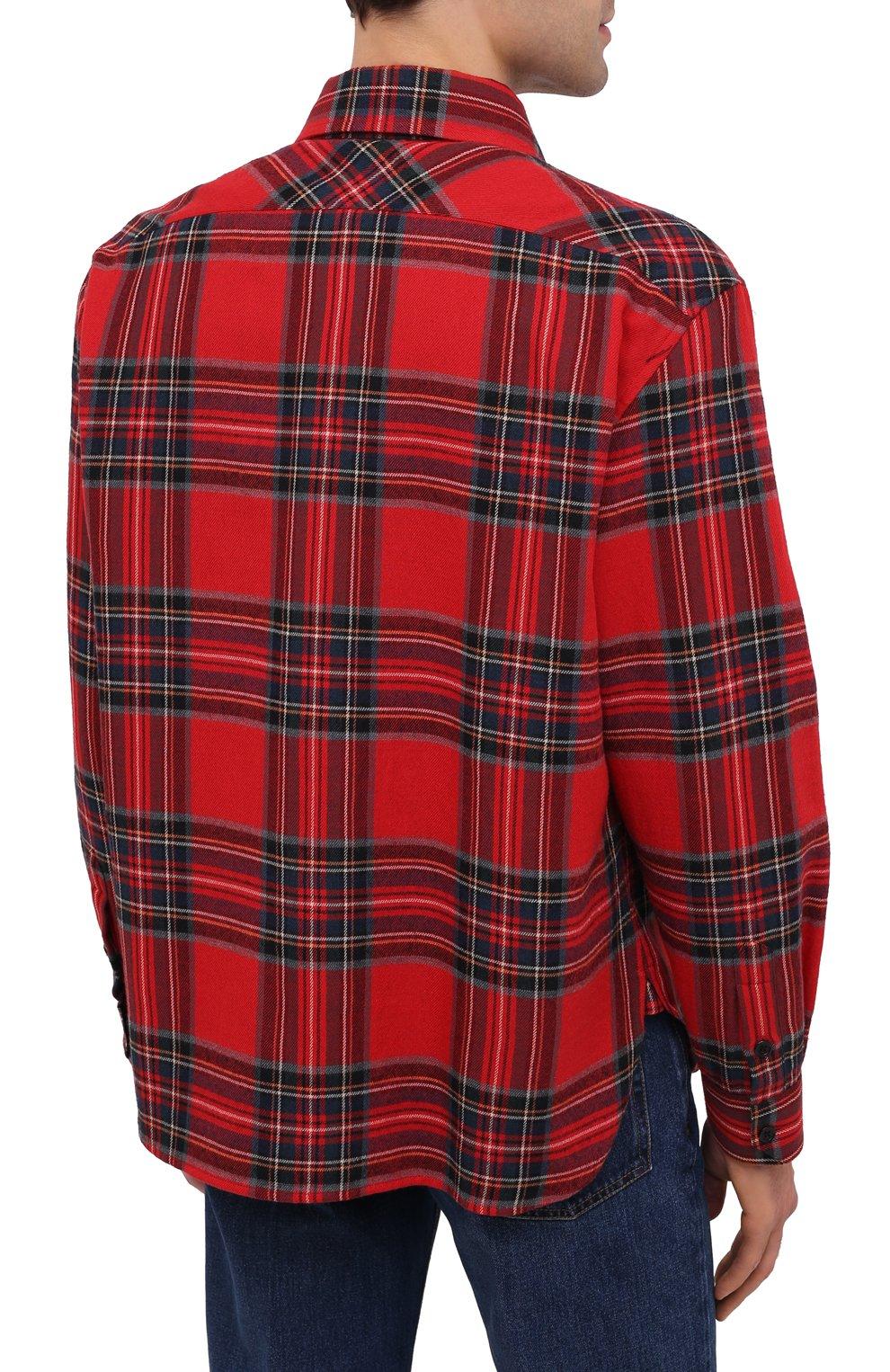 Мужская рубашка из хлопка и шерсти SAINT LAURENT красного цвета, арт. 636581/Y2B37 | Фото 4