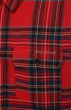 Мужская рубашка из хлопка и шерсти SAINT LAURENT красного цвета, арт. 636581/Y2B37 | Фото 5