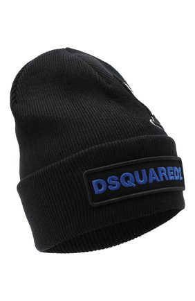 Мужская шерстяная шапка d2 x ovo DSQUARED2 черного цвета, арт. KNM0001 01W03698 | Фото 1