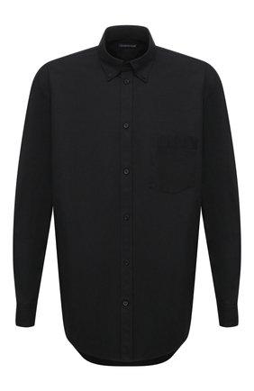 Мужская хлопковая рубашка BALENCIAGA черного цвета, арт. 642291/TYB18 | Фото 1