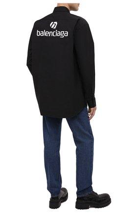 Мужская хлопковая рубашка BALENCIAGA черного цвета, арт. 642291/TYB18 | Фото 2