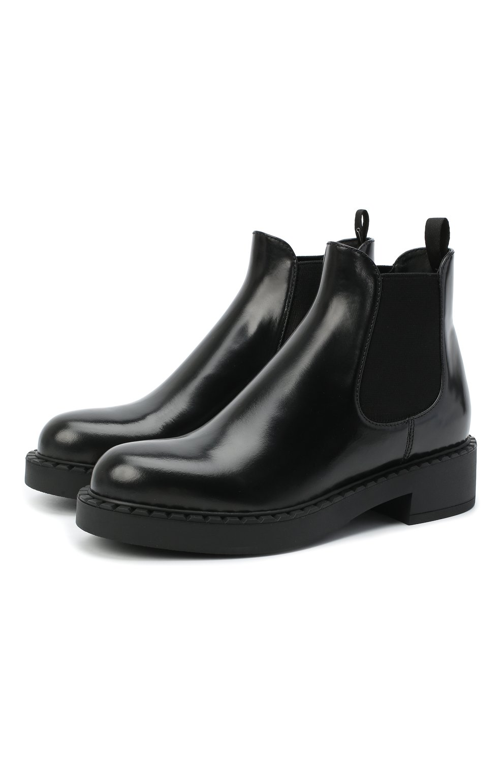 Женские кожаные ботинки PRADA черного цвета, арт. 1T251M-055-F0002-050 | Фото 1