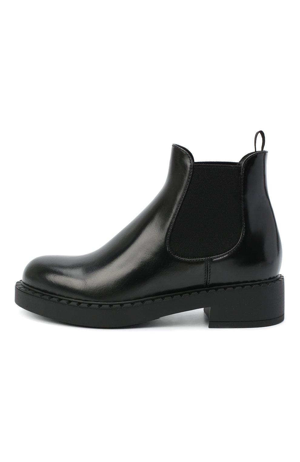 Женские кожаные ботинки PRADA черного цвета, арт. 1T251M-055-F0002-050 | Фото 2