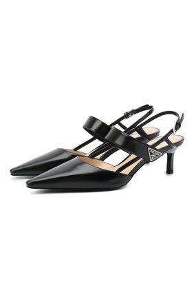 Женские кожаные туфли PRADA черного цвета, арт. 1I322M-055-F0002-055 | Фото 1 (Материал внутренний: Натуральная кожа; Материал внешний: Кожа; Каблук тип: Шпилька; Подошва: Плоская; Каблук высота: Низкий)