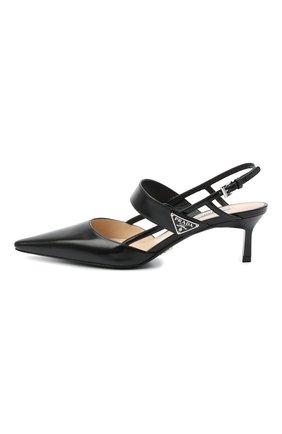 Женские кожаные туфли PRADA черного цвета, арт. 1I322M-055-F0002-055 | Фото 2 (Материал внутренний: Натуральная кожа; Материал внешний: Кожа; Каблук тип: Шпилька; Подошва: Плоская; Каблук высота: Низкий)