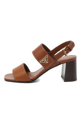 Женские кожаные босоножки PRADA коричневого цвета, арт. 1X378M-248-F0046-065 | Фото 2