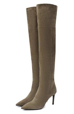 Женские замшевые сапоги PRADA коричневого цвета, арт. 1W391M-008-F0193-085   Фото 1 (Материал внутренний: Натуральная кожа; Высота голенища: Высокие; Материал внешний: Замша; Каблук высота: Высокий; Каблук тип: Шпилька)
