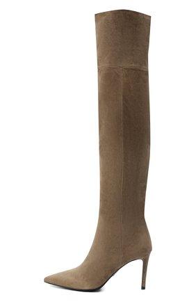 Женские замшевые сапоги PRADA коричневого цвета, арт. 1W391M-008-F0193-085   Фото 2 (Материал внутренний: Натуральная кожа; Высота голенища: Высокие; Материал внешний: Замша; Каблук высота: Высокий; Каблук тип: Шпилька)