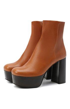 Женские кожаные ботильоны PRADA коричневого цвета, арт. 1TP259-3LBM-F0046-105 | Фото 1