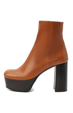 Женские кожаные ботильоны PRADA коричневого цвета, арт. 1TP259-3LBM-F0046-105 | Фото 2