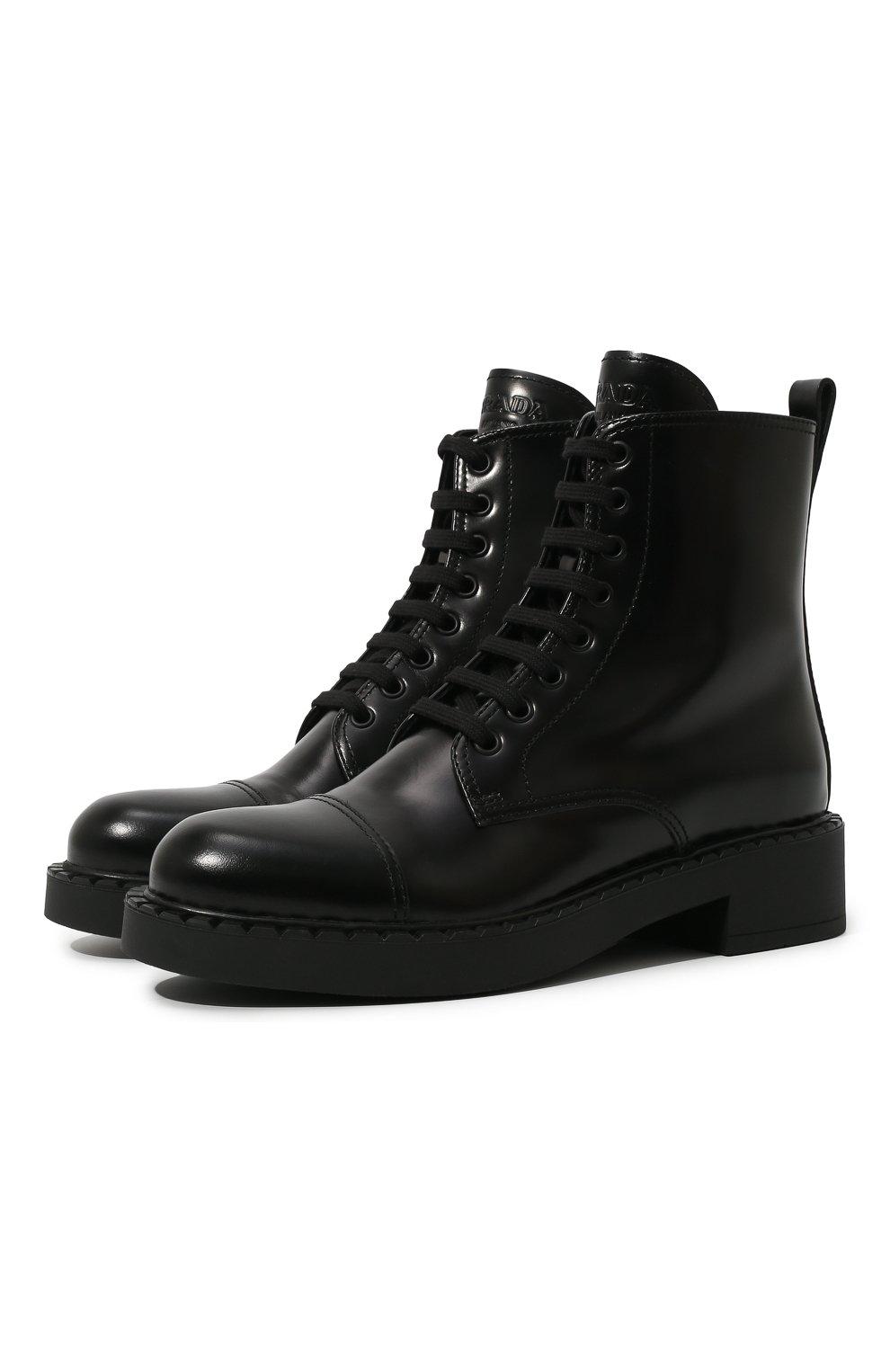 Женские кожаные ботинки PRADA черного цвета, арт. 1T360M-055-F0002-050 | Фото 1