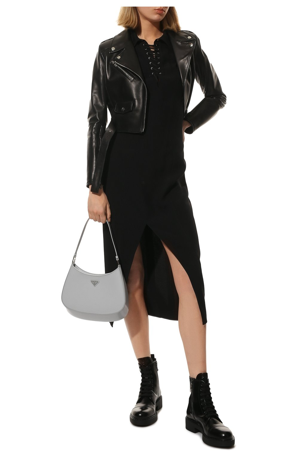 Женские кожаные ботинки PRADA черного цвета, арт. 1T360M-055-F0002-050 | Фото 2