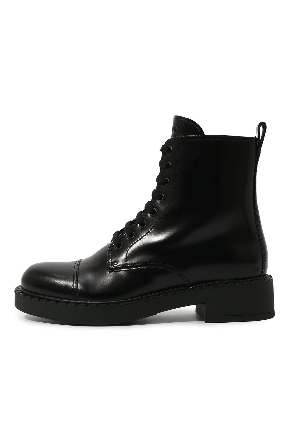 Женские кожаные ботинки PRADA черного цвета, арт. 1T360M-055-F0002-050 | Фото 4