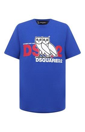 Мужская хлопковая футболка d2 x ovo DSQUARED2 синего цвета, арт. S74GD0765/S23009 | Фото 1
