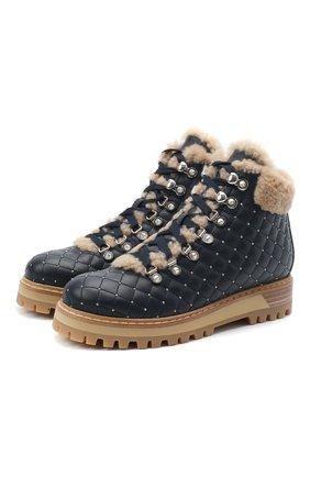 Женские кожаные ботинки LE SILLA темно-синего цвета, арт. 7514P040M1MMCHI | Фото 1