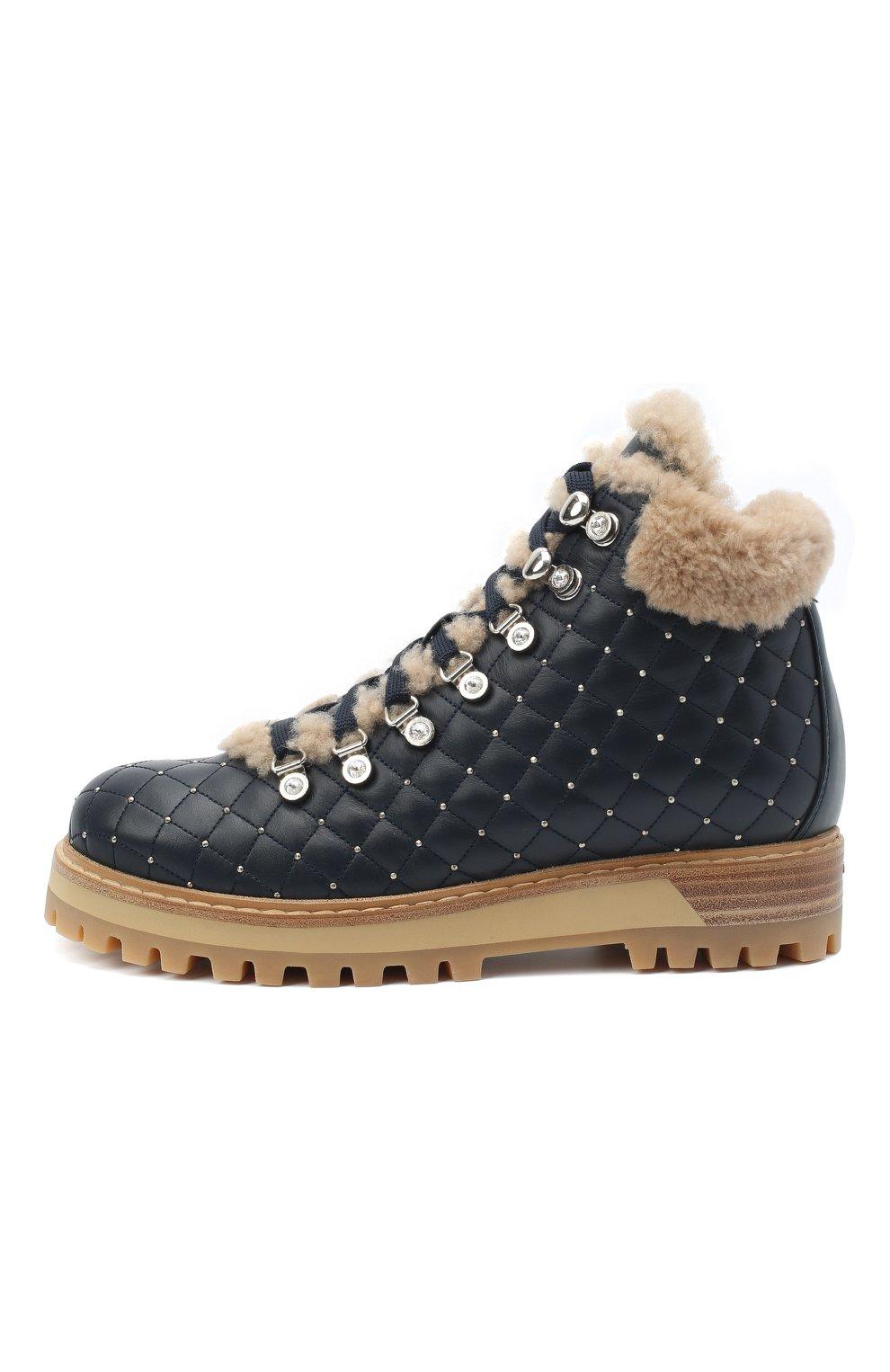 Женские кожаные ботинки LE SILLA темно-синего цвета, арт. 7514P040M1MMCHI | Фото 3
