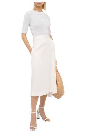 Женский кашемировый пуловер ALLUDE белого цвета, арт. 205/11135 | Фото 2 (Длина (для топов): Стандартные; Рукава: 3/4; Женское Кросс-КТ: Пуловер-одежда; Материал внешний: Шерсть, Кашемир)