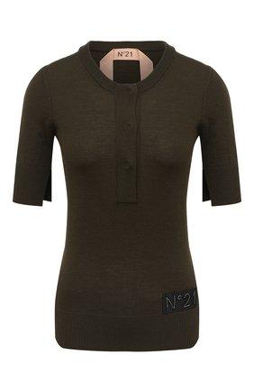 Женский шерстяной пуловер N21 хаки цвета, арт. 20I N2M0/A012/9000 | Фото 1