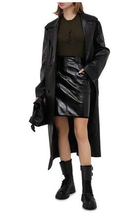 Женский шерстяной пуловер N21 хаки цвета, арт. 20I N2M0/A012/9000 | Фото 2
