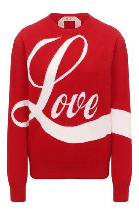 Женский шерстяной пуловер N21 красного цвета, арт. 20I N2P0/A008/7081   Фото 1