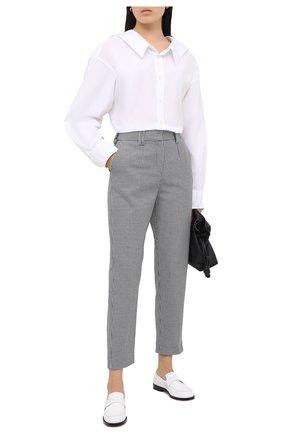 Женские хлопковые брюки BALMAIN черно-белого цвета, арт. UF15172/C245 | Фото 2