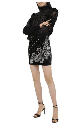 Женская юбка из вискозы и шелка BALMAIN черного цвета, арт. UF14300/P050 | Фото 2