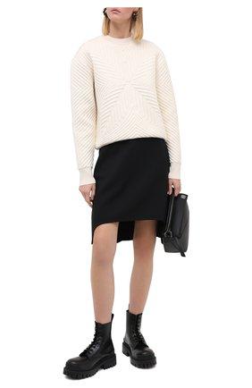 Женская юбка из шерсти и шелка ALEXANDER MCQUEEN черного цвета, арт. 639987/QJAAA | Фото 2